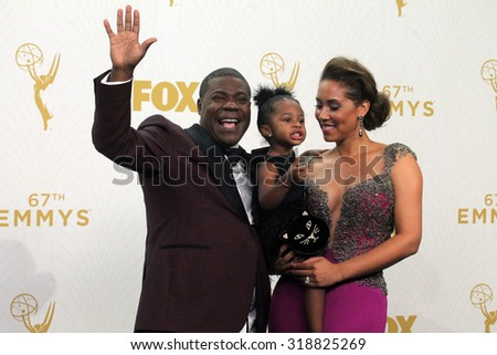 LOS ANGELES - SEP 20:  Tracy Morgan, Maven Sonae Morgan, Megan Wollover at the Primetime Emmy Awards Press Room at the Microsoft Theater on September 20, 2015 in Los Angeles, CA - stock photo