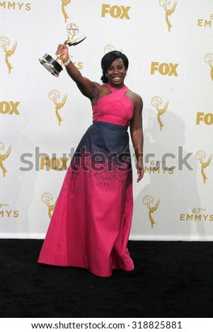 LOS ANGELES - SEP 20:  Uzo Aduba at the Primetime Emmy Awards Press Room at the Microsoft Theater on September 20, 2015 in Los Angeles, CA - stock photo
