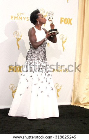LOS ANGELES - SEP 20:  Viola Davis at the Primetime Emmy Awards Press Room at the Microsoft Theater on September 20, 2015 in Los Angeles, CA - stock photo