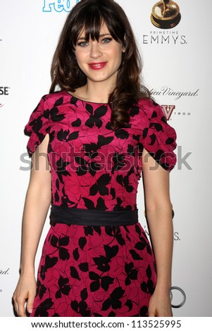 LOS ANGELES - SEP 21:  Zooey Deschanel arrives at the Primetime Emmys Performers Nominee Reception at Spectra by Wolfgang Puck on September 21, 2012 in Los Angeles, CA - stock photo