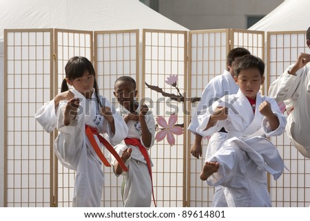LOS ANGELES - SEPT 25:  unidentified Matsubayashi-Ryu Karate of Little Tokyo perform traditional Karate at the Cherry Blossom Festival on September 25, 2011 in Los Angeles, CA. - stock photo