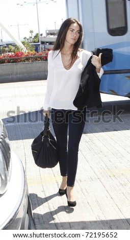 LOS ANGELES - SEPTEMBER 9: Actress Megan Fox is seen at LAX . September 9th 2010 in Los Angeles, California - stock photo