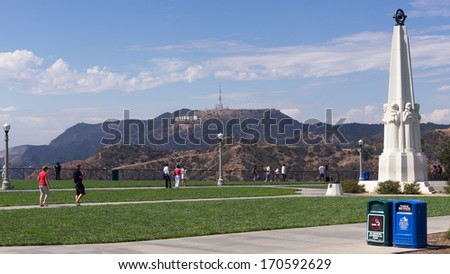 LOS ANGELES-SEPTEMBER 23 :Hollywood sign from the North side of Griffith Observatory. View on September 23, 2011 - stock photo