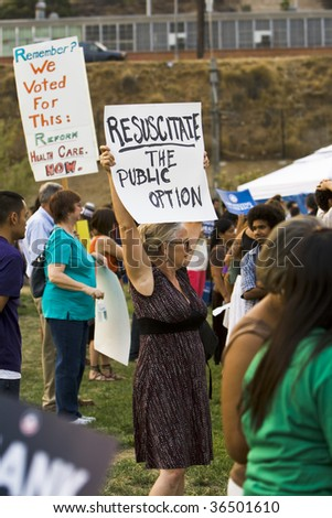 LOS ANGELES - SEPTEMBER 3: Supporters of healthcare reform gather at a city park on September 3, 2009 in Los Angeles.  Rallies and town hall meetings are being held throughout the country.