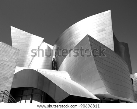 LOS ANGELES - SEPTEMBER 12: Walt Disney Concert Hall in Los Angeles, CA on September 12, 2011.  The Frank Gehry-designed building opened on October 24, 2003. - stock photo