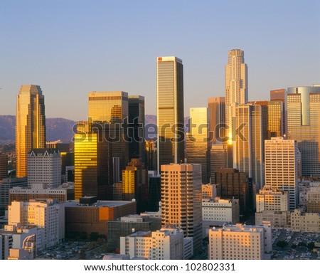 Los Angeles Skyline a Dusk, California - stock photo