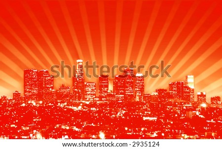 Los Angeles skyline (accurate, from photo), done up in a retro style - stock photo