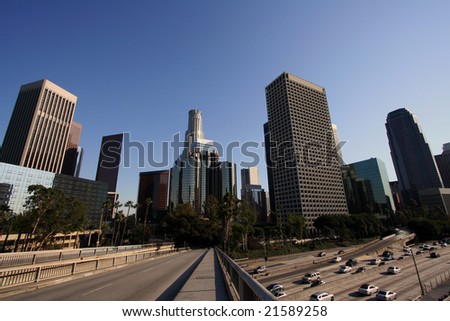 Los Angeles Skyline and Freeway - stock photo