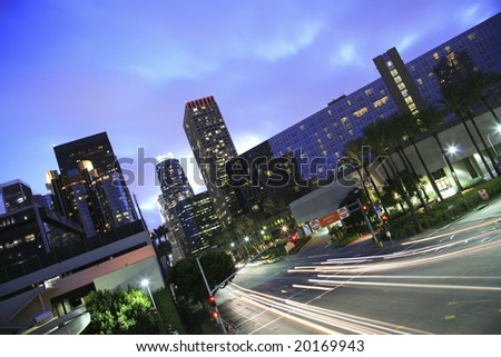 Los Angeles skyline and intersection - stock photo