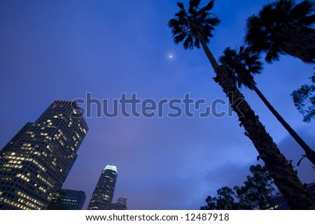 Los Angeles skyline and palm trees - stock photo