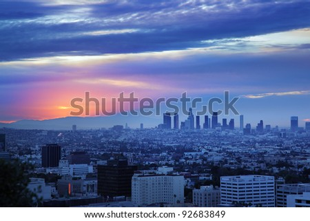 Los Angeles skyline at dawn, view from Hollywood Hills. - stock photo