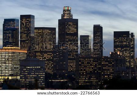 Los Angeles Skyline at Dusk - stock photo