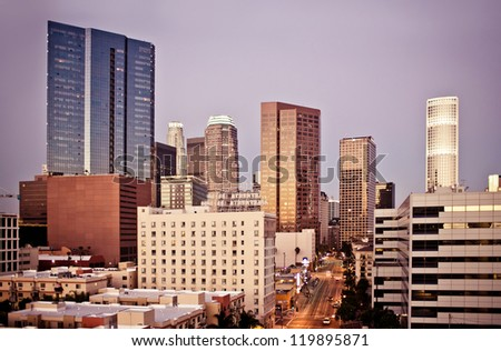 Los Angeles skyline at early morning - stock photo