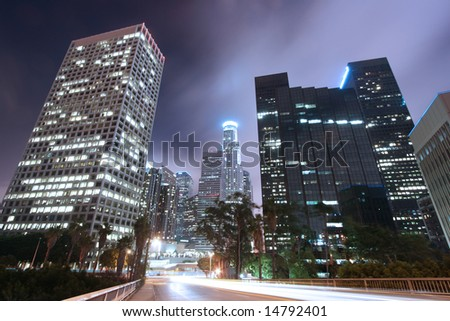 Los Angeles Skyline at Night - stock photo