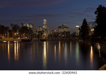 Los Angeles skyline at night. - stock photo