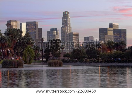 Los Angeles skyline at sunset. - stock photo