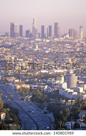 Los Angeles skyline at sunset, California, USA
