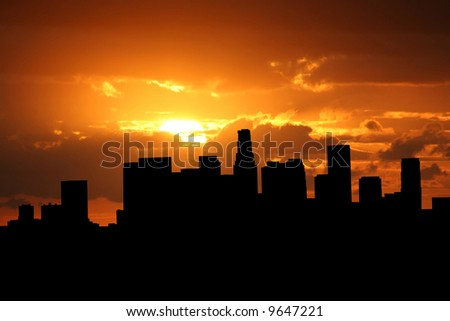 Los Angeles skyline at sunset with beautiful sky illustration - stock photo