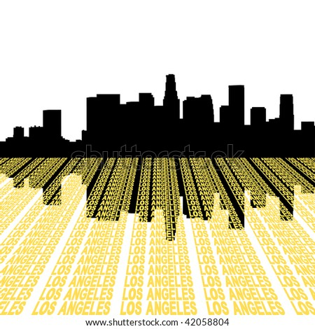 Los Angeles Skyline reflected with text illustration JPEG - stock photo