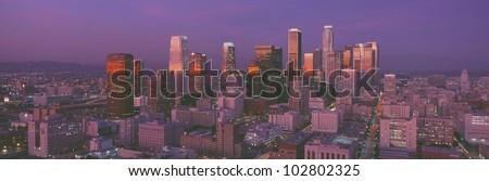 Los Angeles, Skyline, Sunset, California - stock photo