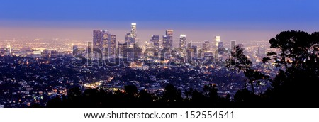 Los Angeles skyline- view from the hills of LA - stock photo