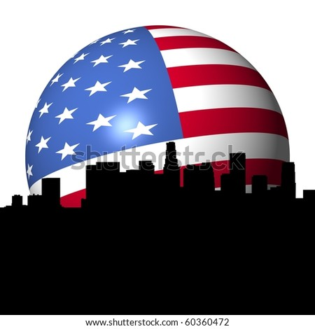Los Angeles skyline with American flag sphere illustration - stock photo