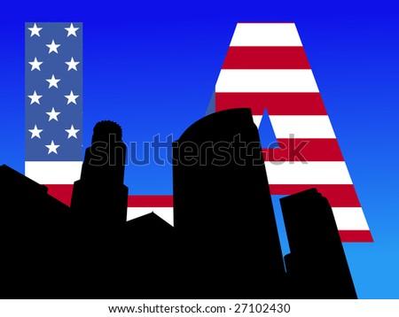 Los Angeles skyline with American flag text illustration JPEG - stock photo