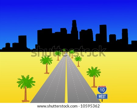 Los Angeles skyline with interstate 10 illustration JPG - stock photo