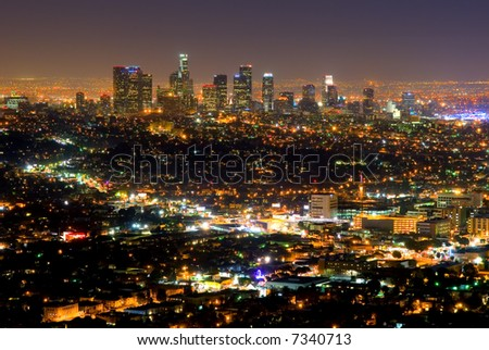 Los Angeles skyscrapers at night - stock photo