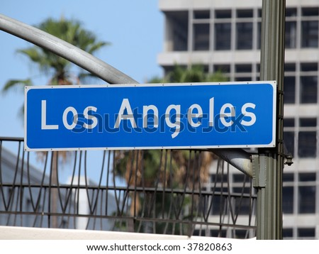 Los Angeles street sign in downtown LA. - stock photo