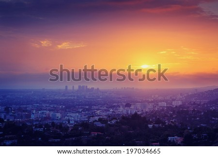Los Angeles sunset . Aerial view over Hollywood and Century City. - stock photo