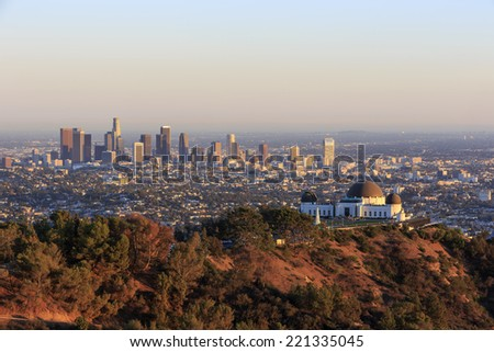 Los Angeles Sunset Cityscape, Griffin Observatory - stock photo