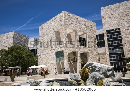 LOS ANGELES, THE UNITED STATES - MAY 31, 2015 : The Getty Center, in Los Angeles, California, is a campus of the Getty Museum and other programs of the Getty Trust. - stock photo