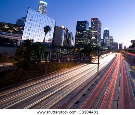 Los Angeles traffic - stock photo