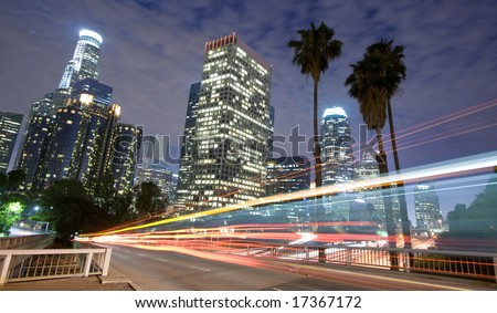 Los Angeles traffic and city skyline panoramic - stock photo