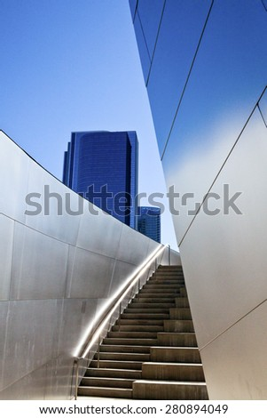 Los Angeles, U.S.A. - May 31 2011: Downtown, architectural detail of the Walt Disney Concert Hall
