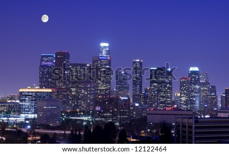 Los Angeles under the moonlight - stock photo