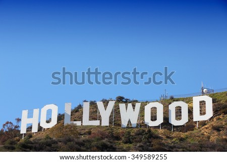 LOS ANGELES, USA - APRIL 5, 2014: Hollywood Sign in Los Angeles. The sign was originally created in 1923 and is a Los Angeles Historic-Cultural Monument. - stock photo