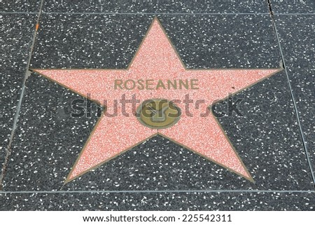 LOS ANGELES, USA - APRIL 5, 2014: Roseanne star at famous Walk of Fame in Hollywood. Hollywood Walk of Fame features more than 2,500 stars with inscribed celebrity names. - stock photo