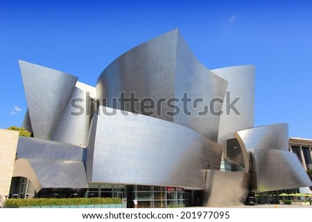 LOS ANGELES, USA - APRIL 5, 2014: Walt Disney Concert Hall in Los Angeles. The famous landmark was designed by Frank Gehry. - stock photo