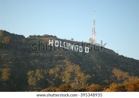 LOS ANGELES, USA - AUG 20: The famous Hollywood Sign - a landmark located on Mount Lee in the Hollywood Hills area of the Santa Monica Mountains in Los Angeles, California. Los Angeles, Aug 20, 2009 - stock photo