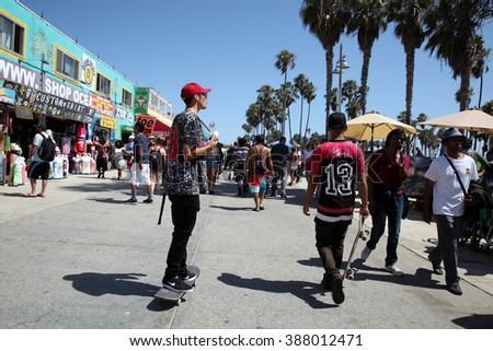 Los Angeles - USA - August 15, 2015 a view a tourist site where people walk, make their sport, cycling will restore the wharf on the ocean front walk - stock photo