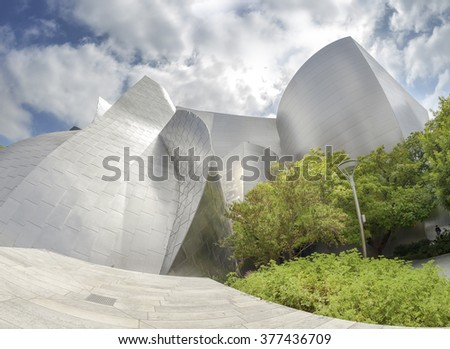 LOS ANGELES, USA - AUGUST 21, 2015:  Fisheye lens photo of Walt Disney Concert Hall designed by Frank Gehry, home of the Los Angeles Philharmonic orchestra and the Los Angeles Master Chorale. - stock photo