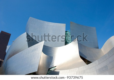LOS ANGELES, USA - CIRCA APRIL 2011: The Walt Disney Concert Hall.  Bounded by Hope Street, Grand Avenue, and 1st and 2nd Streets, it seats 2,265 people - stock photo