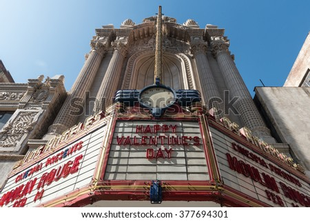 Los Angeles, USA - February 13: Downtown of Los Angeles, CA on February 13, 2016.  - stock photo