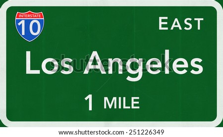 Los Angeles USA Interstate Highway Sign - stock photo