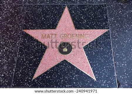 LOS ANGELES, USA - JANUARY 23, 2014: Matt Groening, creator of Simpsons, star on the Hollywood Walk of Fame on January 23, 2014 in Los Angeles. Stars on the Walk of Fame draw tourists from all over.
