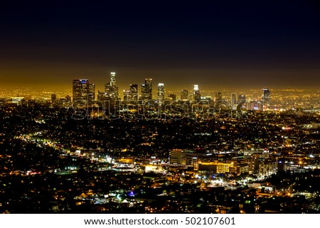 Los Angeles, USA - January 5, 2014: View of Downtown from the Hollywood Hills.