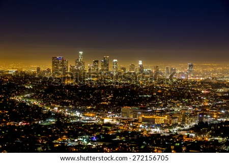 Los Angeles, USA - January 5: View of Downtown from the Hollywood Hills in Los Angeles, USA on January 5, 2014.