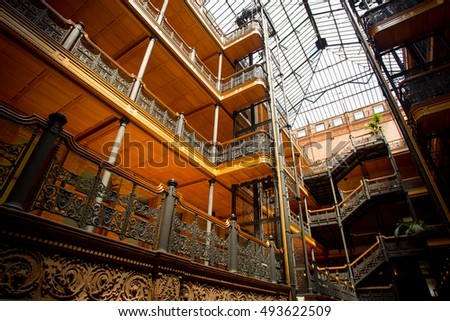 Los Angeles, USA - 14 July, 2014: The iconic interior of the Bradbury Building